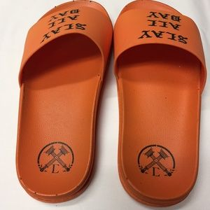 NWOT, Civil Slay All Day Orange Slide Sandals~443